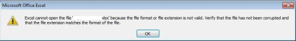 Excel error - File extension is not valid